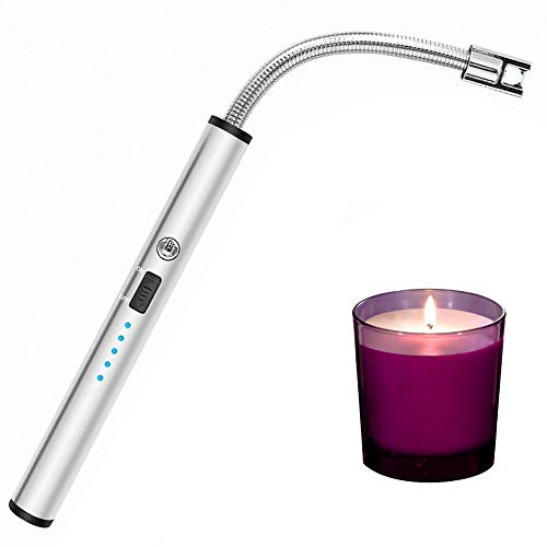 Candle Lighter, Long Flexible Reusable Arc Lighter USB Rechargeable Windproof Flameless Lighter for Multipurpose Like Candle, Grill, Barbaque,Campefire, Birthday Party, Hiking(Gray Ice)