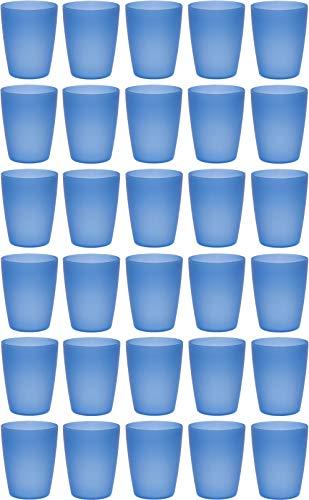 idea-station Neo Vasos plastico 30 Piezas, 250 ml, Azul, Reutilizable, inastillable, Duro, vajilla, Tazas, Copas, Vaso, niños, Infantiles, de Agua, cóctel, Fiesta