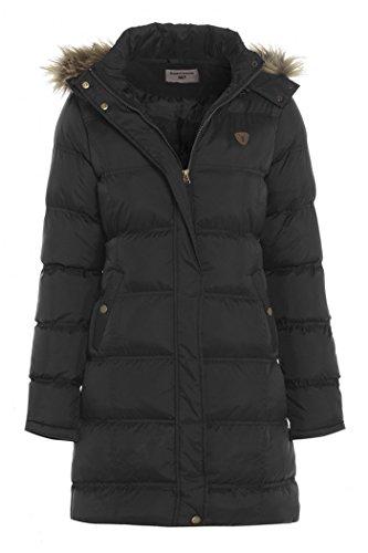 SS7 - Cappotto imbottito con cappuccio, da donna, colore: nero, blu navy, taglie da 8 a 16 Nero  40