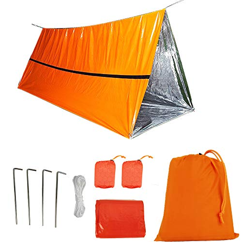 Funlove 2 Person Survival Emergency Tent – Use As Survival Tube Tent, Emergency Shelter, Survival Sleeping Bag, Survival Tarp