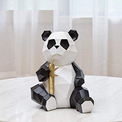 Sculpture Statue Ornament Modern Simple Origami Panda Arts Sculpture Mother And Baby Animal Statue Resin Crafts Living Room Decorations,Light Yellow