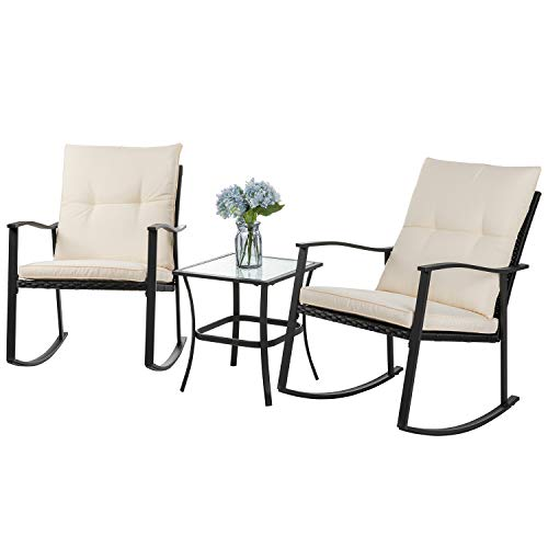Shintenchi Outdoor 3-Piece Rocking Bistro Set,Wicker Patio Furniture Porch Chairs Conversation Sets with Glass Coffee (Beige Cushion)