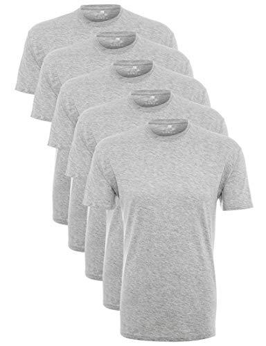 Summary GmbH (Apparel) Lower East Herren T-Shirt mit Rundhalsausschnitt, Grau (Grau), Medium, 5er Pack