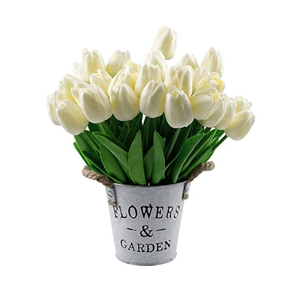 Wedding Bouquets centerpieces 24 PCS Floral Kingdom 10 Mini Tulips Real Touch Latex PU Spring Flowers Home Decor Green