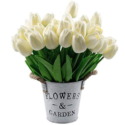 Lawei 30 Stück Tulpe Künstliche Blume Real Touch Tulpenblumen für Zuhause Büro Garten Party Hochzeit, Weiß