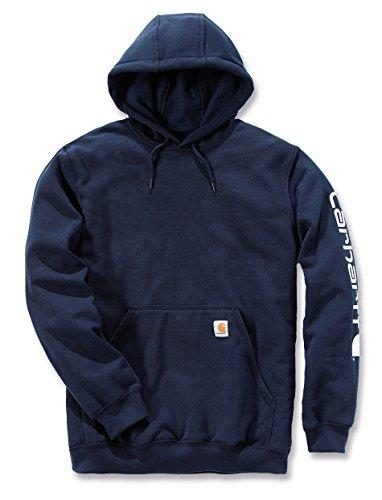 Carhartt, K288, Felpa da uomo a maniche lunghe con cappuccio, con logo, L, Blu scuro