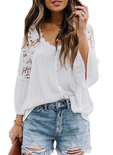 Aleumdr Spitze Bluse Damen Elegant Tunika Bluse Langarm Causal Tops Lose Langarmshirt Vintage Tunika Shirt Einfarbig Weiß XXL
