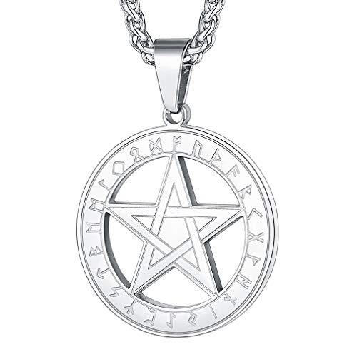 FaithHeart Edelstahl Viking Pentagramm Anhänger Silber Pentagramm Kette mit Geschenkebox für Damen und Herren
