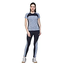 Multicolor Polyster Lycra Fabric Short Sleeve Tracksuit for Women