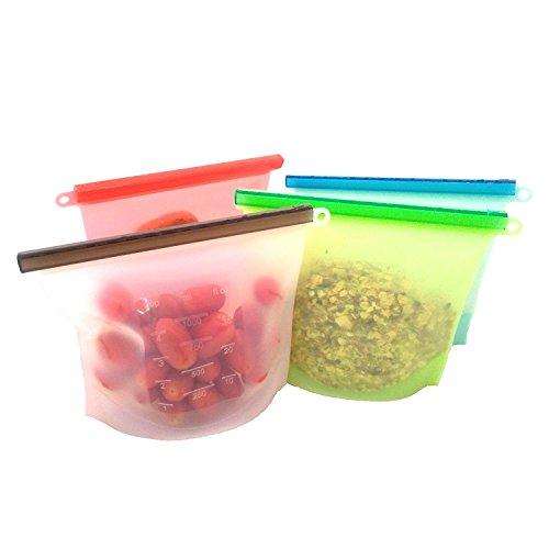 SODIAL Sac reutilisable de Conservation de Nourriture de Silicone Sac hermetique de Recipient de Stockage de Nourriture Sac de Cuisson Polyvalent (4pcs)