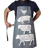 TBS Chefs grembiule da macellaio con tagli di carne macellaio | grembiule per uso professionale con grembiule per la casa regalo da cottura | | Gift for a Foodie | cotone grigio carbone chef grembiule