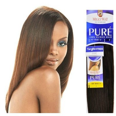 "PURE YAKY WEAVE 16"" - MilkyWay 100% Human Hair Weave Extensions #1B"