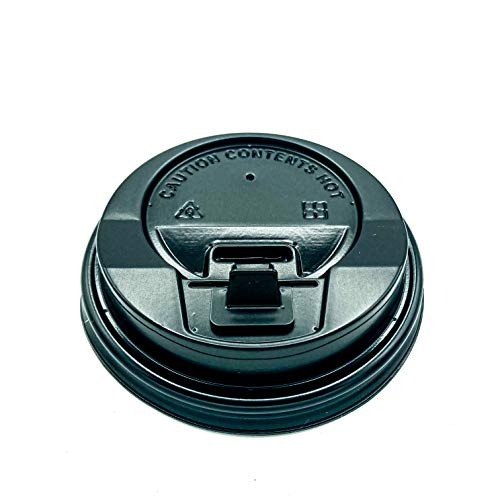 ENpack 1000 Deckel für Kaffeebecher 80mm/8cm Schwarz - 0,2l/0,3l - Coffee To Go Deckel für Pappbecher - Kunstoff - Kaffe/Tee/Kakao/Latte Machiato/Cappuccino - Ideal für Unterwegs