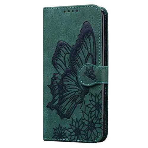 Funda Xiaomi Redmi 8A, a prueba de golpes, de piel sintética, con diseño de mariposa, con soporte para tarjeta, soporte para cuaderno, delgada, funda protectora para Xiaomi Redmi 8A, color verde
