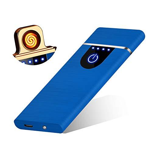 RiverMolars Y20 Encendedor Eléctrico, Mechero Recargable USB, Pantalla Táctil, a Prueba de Viento, sin Gas/Llama, Indicador de Batería, para Cigarrillos Velas Cocina Camping Barbacoa (Azul)