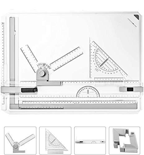 Oppikle A3 Zeichenplatte Zeichenplatte einfache Zeichenplatte DIN A3 geo-Board zeichenplatte Parallel-Zeichenschiene für das Professionell Office Arbeiten/Studenten Studium