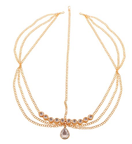 Simulated Strass Fashion Jewelry Indian Party Rubis Gratuit Taille Gold Tone