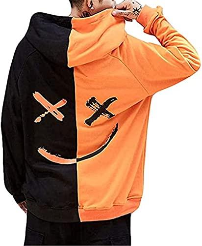 OVIWENEII Hombres Sudaderas con Capucha Patchwork Cara Sonriente Moda Manga Larga Outwear Otoño Invierno Jersey (Naranja, Small)