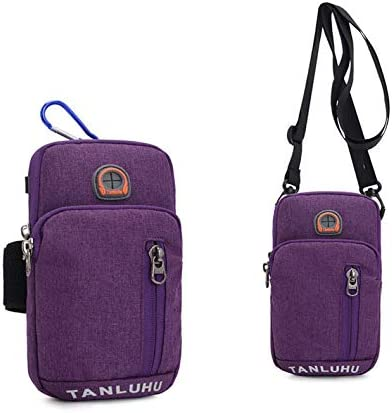 Men Women Workout Cellphone Wasit Purse Small Crossbody Bags Belt Loop Holster Pouch for Samsung Galaxy S20 / S20+ 5G / S20 Ultra / LG V60 ThinQ / Stylo 5X / Neon Plus / Motorola Moto G Power(Purple)