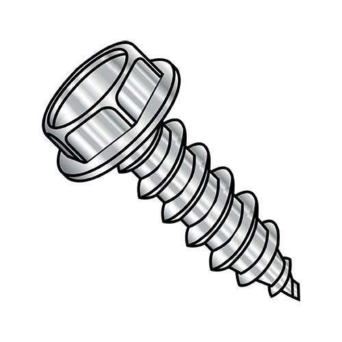 5/16-9X2 Unslotted Ind Hex washer Self Tapping Screw Type A Full Thread 18-8 Stainless Steel (Box Qty 500) BC-3132AW188 By Shorpioen