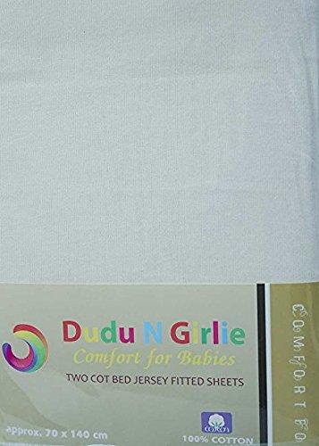 Dudu N Girlie 100 Percentage katoenen babybedje, hoeslaken, 70 x 140 cm, wit