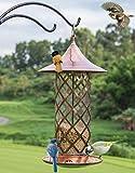 Gifftiy Mangeoire A Oiseaux Cage Mangeoire A Oiseaux sur Pied Mangeoires d'oiseaux De Récipient De Nourriture De Mangeoire D'Oiseau Sauvage Extérieure De Style Européen