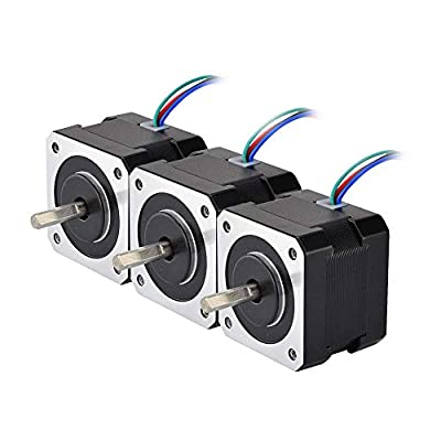 STEPPERONLINE 3 PCS Nema 17 Stepper Motor 26Ncm 12V 0.4A w/ 1m Cable & Connector for 3D Printer DIY CNC