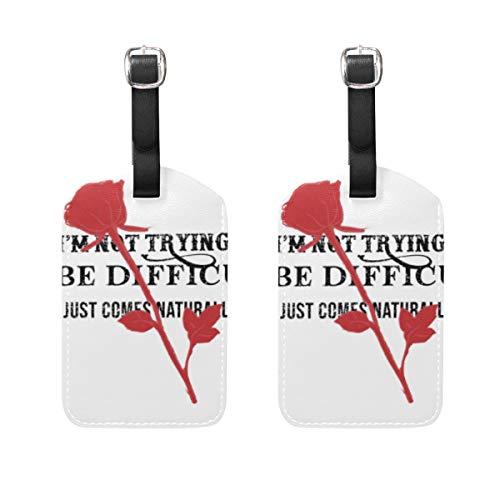 WINCAN Gepäckanhänger (Sortiert, 2 PK),Slogan-Grafik Rose Silhouette Drawing VectorGepäckanhänger, Kofferanhänger für Rucksäcke