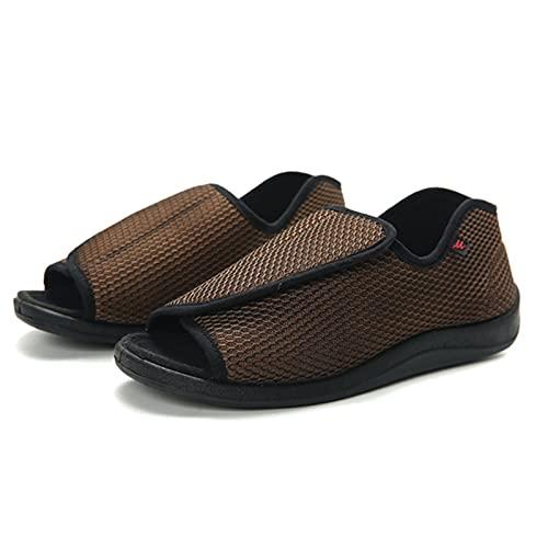 SQOAEE Mujeres Hombres Zapatos diabético Fascitis Plantar Sandalias Deportivas con Pantuflas para Ancianos Embarazadas Pies hinchados Artritis Calzado ortopédico,Marrón,37