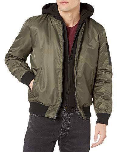 GUESS Men's Hooded Bomber Jacket, olive, M