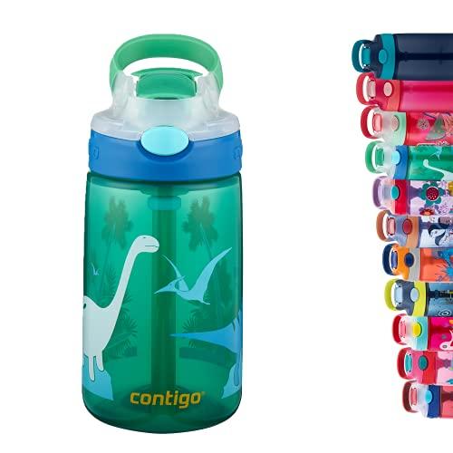 Contigo Kids Water Bottle Gizmo Flip Jungle Green Dino Autospout with Straw, BPA drinks bottle, leak-proof, ideal for kindergarten, school and sports, 420 ml