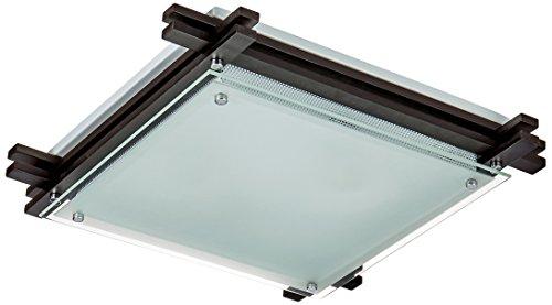 Plafonnier métal bois/sombre, clair satiné, LxLxH:400x400x85, excl. 2xE27 ILLU 60W 230V