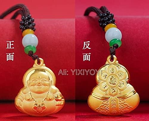 LVYAN Hermosa Moneda China con Incrustaciones de Oro Macizo Buda corazón Sutra Guanyin Pixiu bendición Amuleto Colgante Collar Encanto joyería deRegalo
