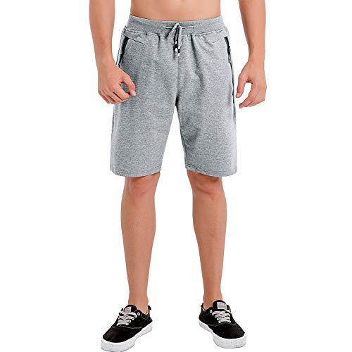 Umelar Herren Shorts Sport Shorts Herren Kurze Hose Herren Shorts Fitness Kurze Hose Jogging Hose Cotton Herren Short, XXL, Hell Grau