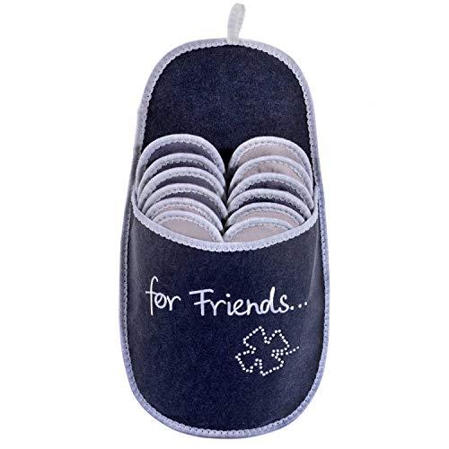 ONVAYA Zapatillas de huéspedes antideslizantes | conjunto de 6 | Zapatilla de fieltro | Para amigos felicidad hoja de trébol de brillo For Friends