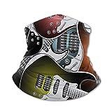 Bufanda protectora para el cuello Máscara a prueba de viento-Pila de guitarras eléctricas coloridas gráficas Música rock Instrumentos de cuerda