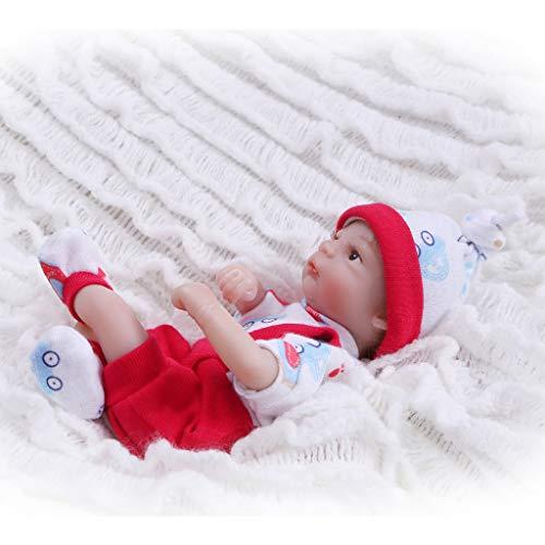 Nicery Reborn Baby Doll Muñeca Renacida Vinilo de Silicona de Simulación Suave 8 Pulgadas 20cm Realista Vivo Niño Niña Juguete Ropa Rojo RD20C003BO
