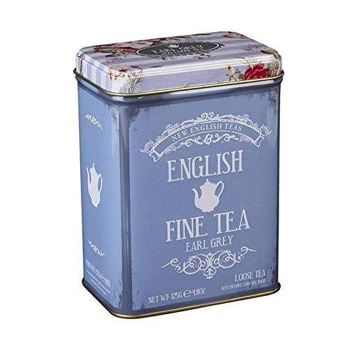 125 g de té Earl Grey de hojas sueltas - Té negro indio con aceite de bergamota - Caja de metal con decoración floral