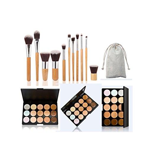 JasCherry 11 Pcs Pinceaux Maquillage Trousse + 15 Couleurs Palette de Maquillage Correcteur Camouflage Crème Cosmétique Set - Convient Parfaitement pour une Utilisation Professionnelle ou à la Maison