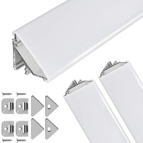 Perfil de esquina LED V24, juego de 2 x 100 cm, perfil de aluminio LED de 45 grados para tiras de luces LED