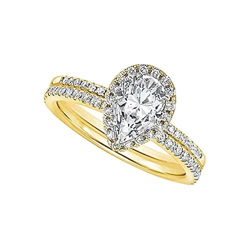 2 anillos para mujer con diamantes en forma de gota, anillo de compromiso, anillo de boda para mujer, bisutería para boda, compromiso, regalo de cumpleaños