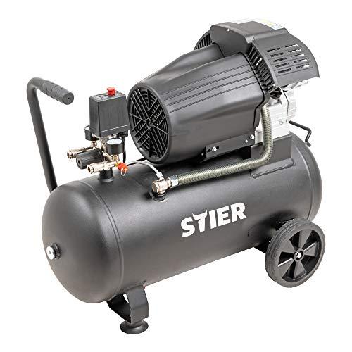 STIER Kompressor LKT 600-10-50, 2200 W, max. Druck 10 bar, 50 Liter Tank, 41 kg, geeignet für Anwendungen mit hohem Luftbedarf, Reifenwechsel, Bauarbeiten, für Druckluft-Werkzeug etc.