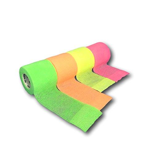LisaCare NEON-Bandagen | Kohäsive Bandage | Sportverband | Fixierbinde | Wundverband | selbsthaftend elastisch dehnbar | diverse Sets & Auswahlmöglichkeiten (5cm Breit, 4er-Mix)