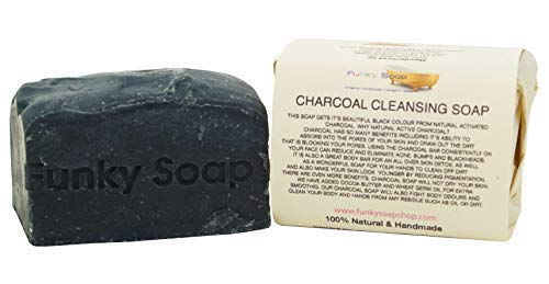 Funky Soap Carbón Limpiador Jabón, 100% Natural Artesanal, 1 Barra de 120G