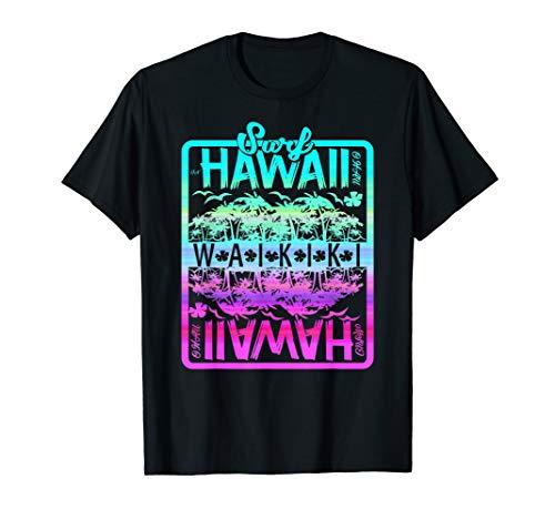 Hawaii T Shirt, Surf Waikiki Beach Colorful Retro Print Tee