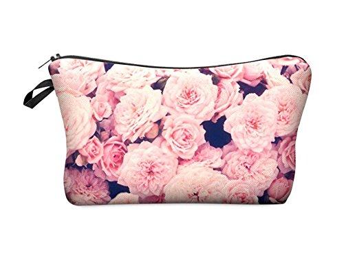 Leah's fashion®plante Stylish trousse de maquillage 3d Plante modèle femmes sac de maquillage de voyage (Vintage Roses Pink)