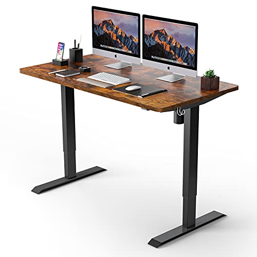 Electric Standing Desk, 48 x 24 inches Whole Piece Deskboard Adjustable Height Desk, Quick Assembly, Ultra-Quiet Motor, Standing Desk Brown Top + Black Frame