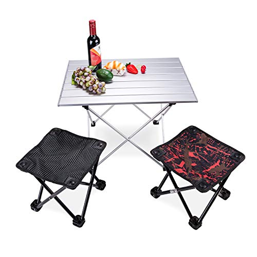 SY Ultralight Folding Table amp Stool Utility Beach Table with Collapsible Table Top Aluminum Outdoor Picnic Camping Table and Stool for Fishing Sketching  Creamy White