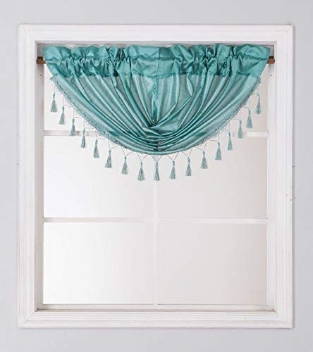 1PC Waterfall Valance for Curtains & Drapes Rod Pocket Beaded Curtain Valence(Teal)