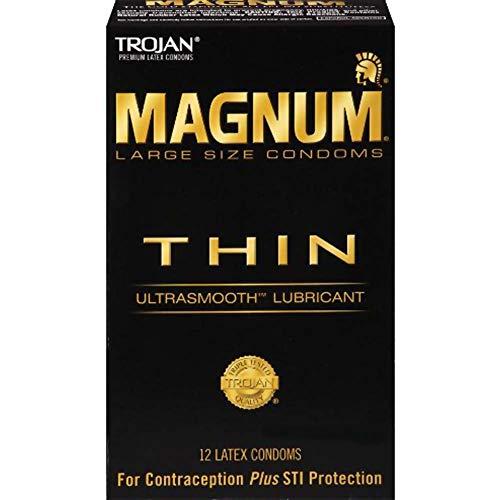 Trojan Magnum Thin Lubricated Premium Latex Condoms 12 ct